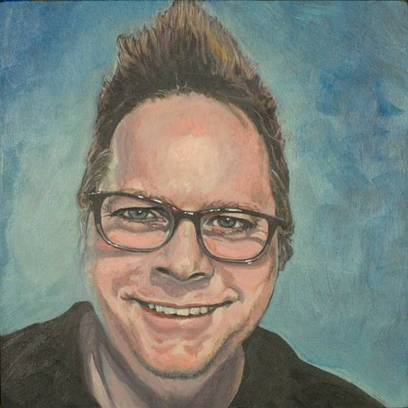 Self portrait, acrylic on wood panel, by Steve Miller.