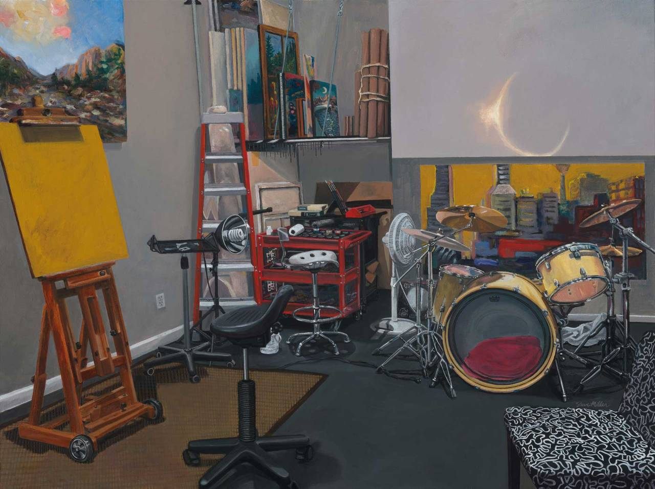 "Image of a Painting by Steve Miller titled, ""Stasis Hiatus"". The image is of the artist's studio, and has art supplies and a drum set."
