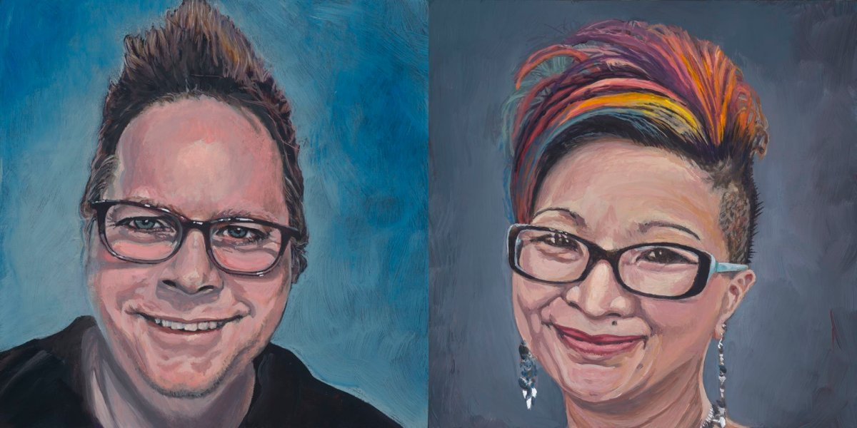 "Self Portrait and Portrait of Tiffany, (2)8""x8"", acrylic on birch wood panel with 1.5"" profile, © Steve Miller 2019"