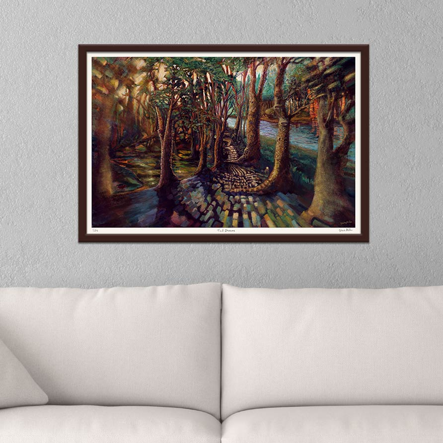 Image of a simply framed giclee print of a painting by Steve Miller titled Trail Dreams, hanging on the wall above a sofa.