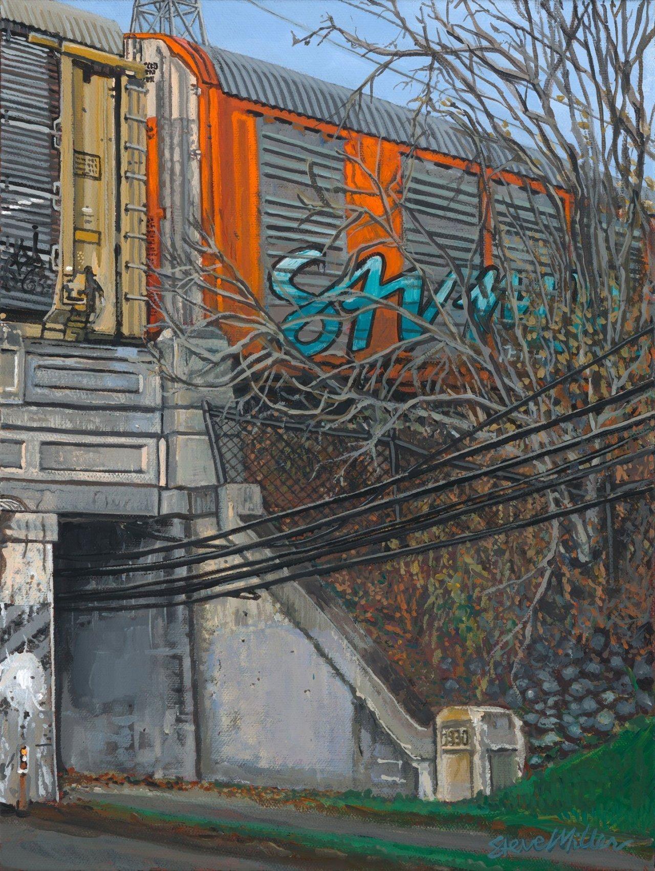 """Train Stop 12"""" x 16"""" x 1.5"""" acrylic on canvas 12/4/19 © Steve Miller 2019"""