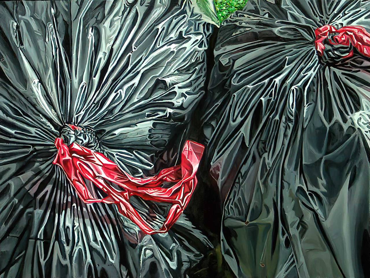 "Image of a painting by Steve Miller titled, ""Tuesday Morning"" of a pair of black plastic trash bags cropped."