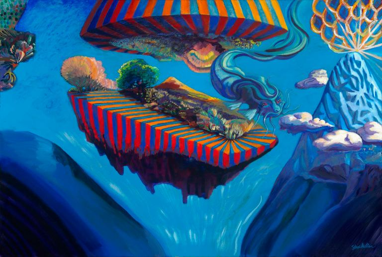 An acrylic landscape painting by Steve Miller of a floating island with bigtop stripes, a catfish dragon swimming, clouds floating, a bird peeking, and a volcano popping.