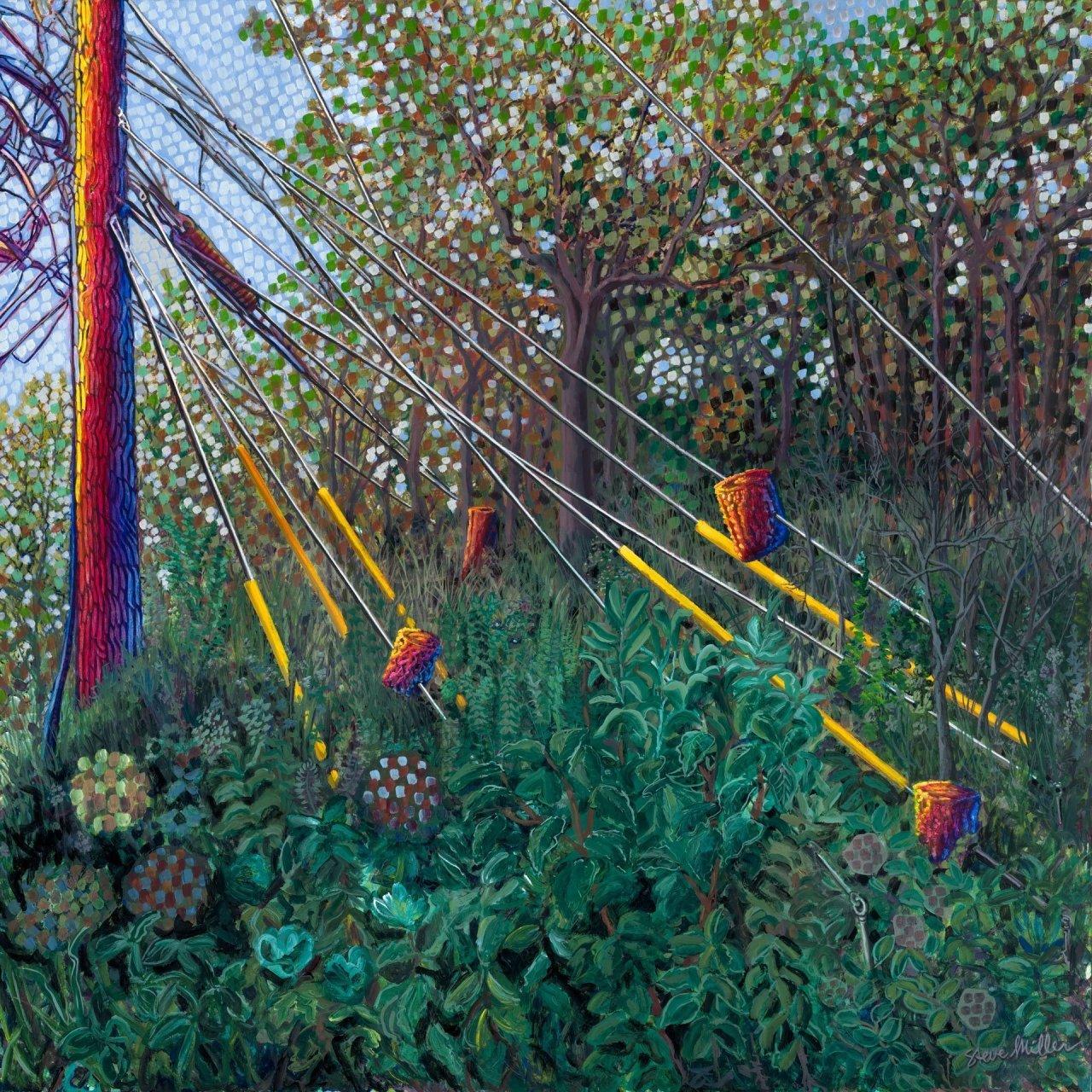 Unexpected Garden 36''' x 36''' x 1.5'' acrylic on wood panel 10/11/19 © Steve Miller 2019