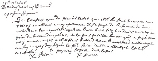 Autograph letter of Nicolas Perrot