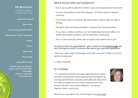 Nutritionist website copy rewrite