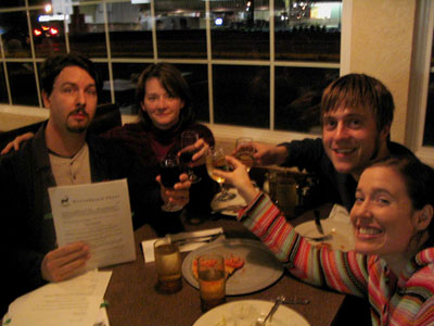 At Spiro's Pizza, October 5, 2005, celebrating the signing of my first publishing contract — for Auralia's Colors and Cyndere's Midnight — with Anne, and with Nathan and Sarah Partain.