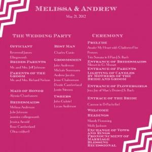 Wedding Reception Program Wording Ideas Design