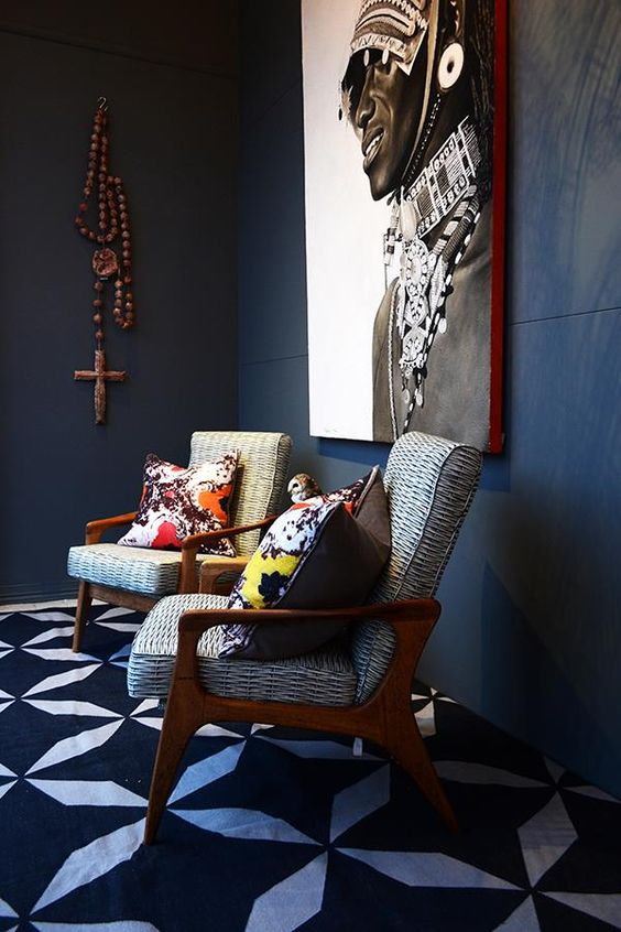 African inspired room with large wall art
