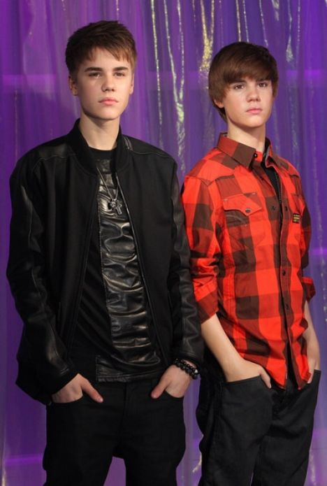 Justin Bieber and Justin Bieber Wax Figure