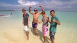Stefan Wiche, Christian Schöne, Kristof Hering und Marcel Profumo am Strand