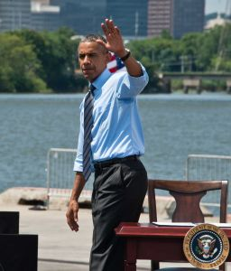 President Barack Obama Delivers Remarks About The Economy at The Port of Wilmington in Wilmington