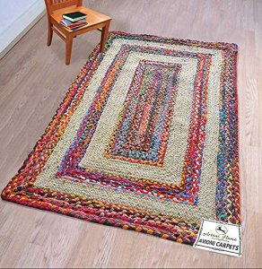 Braided Area Rug - Ecofriendly Recycled Cotton Chindi and Jute - Colorful Contemporary Design - 3 feet X 5 feet  - Avioni Premium Eco Collection