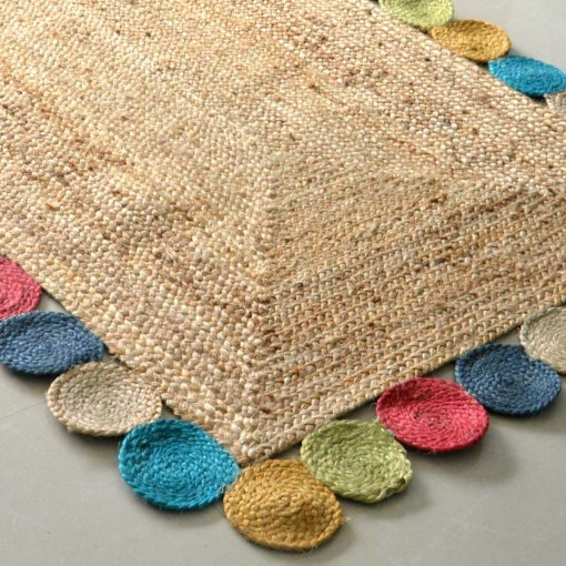 Jute Rug - Braided Area Rugs -Colorful Contemporary Design - Handmade - 3 feet X 5 feet - Avioni Premium Eco Collection - Best Seller
