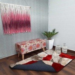 Premium Red Stones Hand Tufted Shaggy Carpet by Avioni