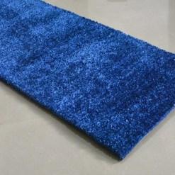 Handloom Blue Plain Solid Premium Bedside Carpet (22X55 Inch) By Avioni
