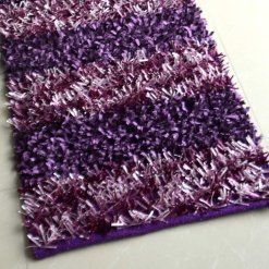 Avioni Handloom Light & Dark Purple Color Plain Solid Premium Bedside Carpet (22X55 Inch)