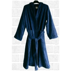 Loomkart Very Fine Export Quality Bath Robes in Sky Blue With Hood in Avioni Zip-Packing- Standard Size