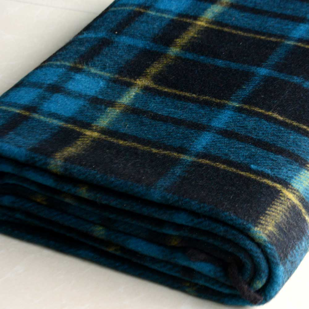 Wool Blankets Premium In Blue And Brown Check By Msf