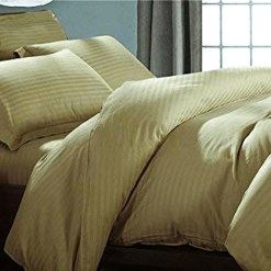 Double Bed Sheet 100% Cotton 200 TC Plain Satin Stripes in Brown Avioni Packing