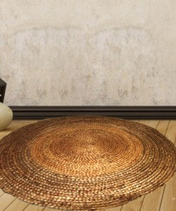 Jute Carpet - Braided Area Rug in Natural Handmade unbleached Jute - 116 Cms Diameter -  Avioni @ Factory Price - Most Popular