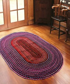 Rag Rug - Cotton Chindi Modern Area Rugs  - Braided -Handmade - Reversible - Oval - 37 x 60 inches - Avioni Premium Eco Collection - Best Seller