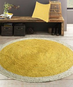 Jute Mat – Braided Area Rugs  – Modern Rug In Sunflower Yellow – Handmade – 5 feet Diameter Round – Avioni Premium Eco Collection