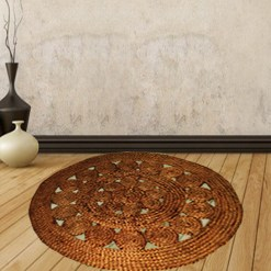 Jute Mat – Natural Round Braided Area Rugs in Beautiful Design – Handmade & Unbleached -110 cm Diameter – Avioni Premium Eco Collection – Best Seller