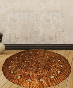 Jute Mat - Natural Round Braided Area Rugs in Beautiful Design - Handmade & Unbleached -110 cm Diameter - Avioni Premium Eco Collection - Best Seller