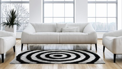 Shaggy Rugs From Avioni – Modern Black Grey Ripples Illusion Design