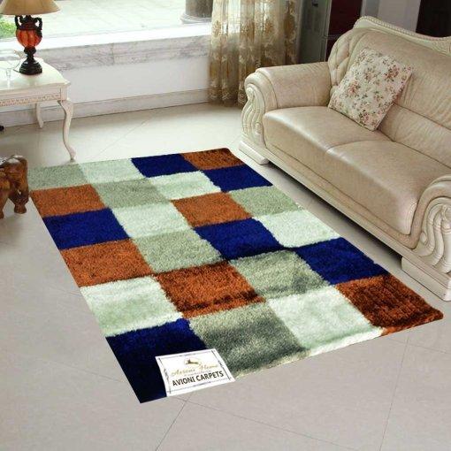 Designer Shaggy Carpet Contemporary Four Square Design In Blue by Avioni