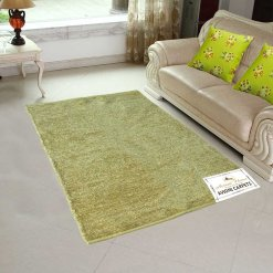 Handloom Rugs Carpets For Living Room Solid Colors Yellowish Golden Reversible-Avioni