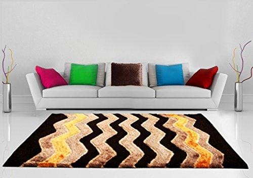 Shaggy Carpet Coffee with Multicolor Zig-zag Design by Avioni