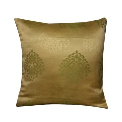 Cushion Covers in Ethnic Golden And Green 16 X 16 Inch (set of 5) by Avioni