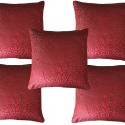Buy Contemporary Faux Silk Cushion Cover In Premium Red Color Online
