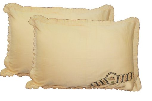 Beautiful Pillowcase / Pillow Cover of Beige Color with Embroidery (set of 2) by Avioni