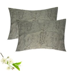 Pillow Cases – Beautiful Gray Design -Glace Cotton – Set of 2 – Avioni