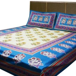 Loomkart Double Bedsheet Jaipuri Printed 100% Cotton By Avioni
