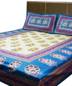 Loomkart Double Bedsheet Jaipuri Printed 100% Cotton By Avioni