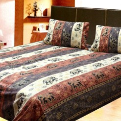 Avioni Jaipuri Gold Double Bedsheet in Brown and Cream Colour
