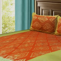 Jaipuri Gold Double Bedsheet 100 % Cotton Orange Color by Avioni