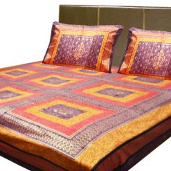 Double Jaipuri Gold 100% Cotton Premium Bedsheets by Avioni (90 X 108 Inches)