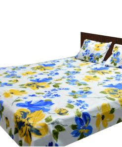 Double Bed Sheet 200 Tc 100% Fine Cotton Blue And Yellow Floral By Avioni
