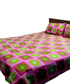 Double Bed Sheet  Pink With Floral Design