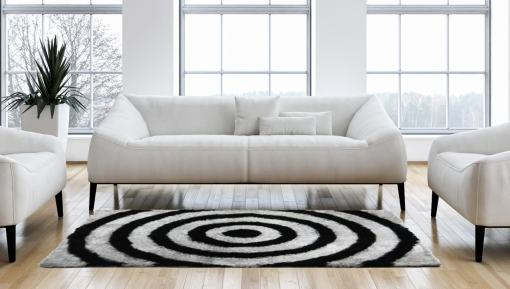 Buy Black Circles With Grey Shaggy Carpet Online