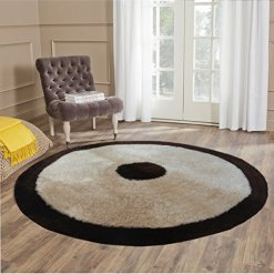 Handloom Soft Shaggy Plain Beige With Black Border Round Carpet (116 Cms) by Avioni