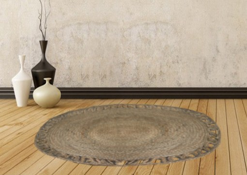 Jute Mat – Oval Design – Natural Braided Area Rug With Wave Border – Handmade & Unbleached -96 X 128 cms – Premium Rugs By Avioni