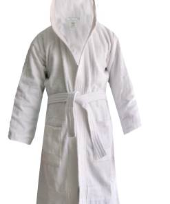 Loomkart Very Fine Export Quality Bath Robes in White With Hood in Avioni Zip-Packing- Standard Size
