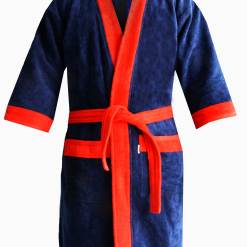 Loomkart Very Fine Export Quality Bath Robes in Blue With Red Very Soft Velvet Finish in Avioni Zip-Packing- Standard Size