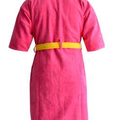 Loomkart Very Fine Export Quality Bath Robes in Pink With Yellow Very Soft Velvet Finish in Avioni Zip-Packing- Standard Size